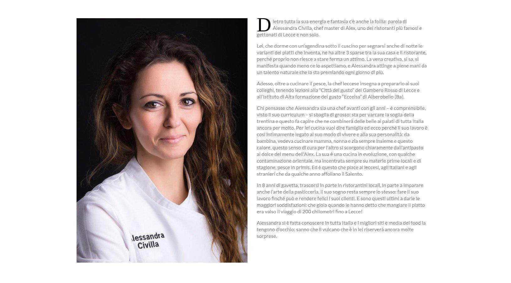 Alessandra Civilla sito internet Alex Ristorante