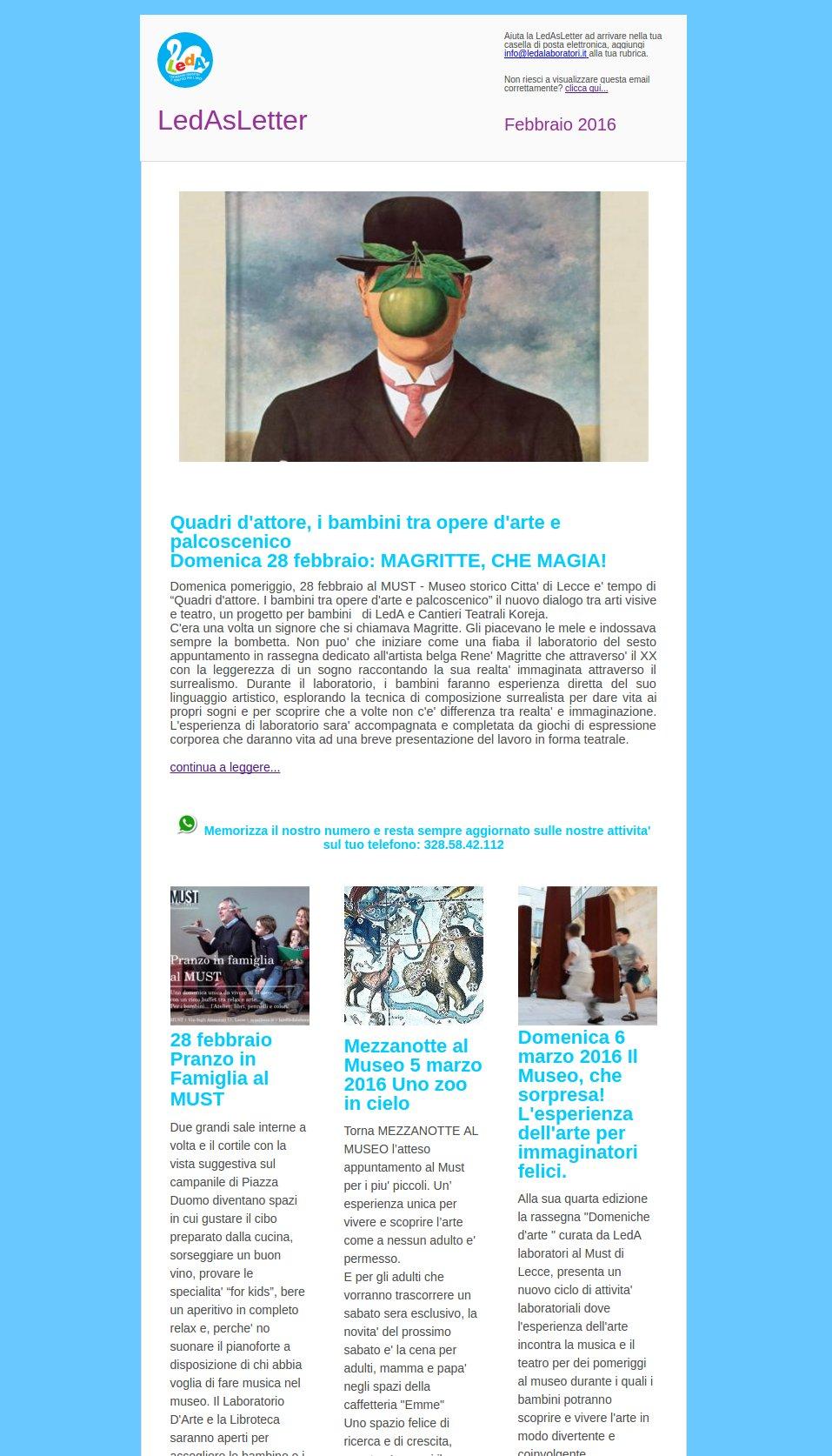 Newsletter LedA Laboratori: LedasLetter